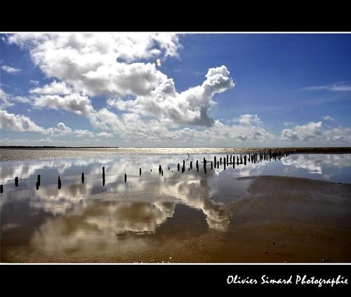 ocean sea sky mer france clouds reflet ciel reflect nuages baie maraispoitevin estuaire charentemaritime esnandes poitoucharentes sèvreniortaise baiedel'aiguillon oliviersimardphotographie
