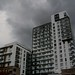 Tower blocks in the storm, Greenwich peninsula