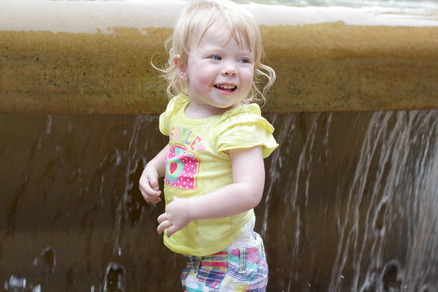Lucy enjoying Peace Fountain in downtown Rochester