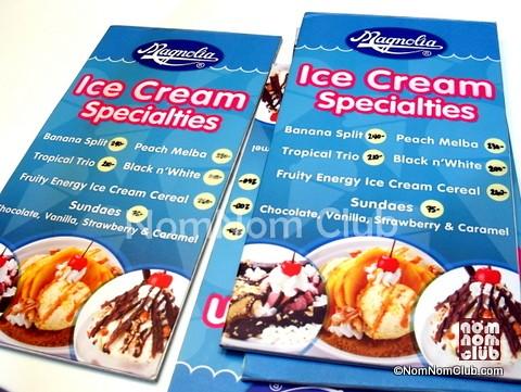 Magnolia Ice Cream House Menu