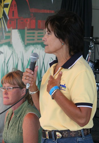 USDA Rural Development State Director Elsie Meeks (foreground) speaks during an event at the South Dakota State Fair.