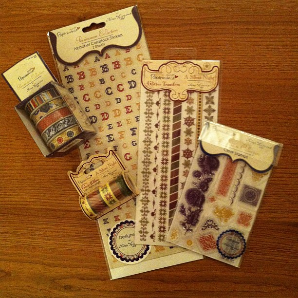 Letter stickers, ribbon and stamps