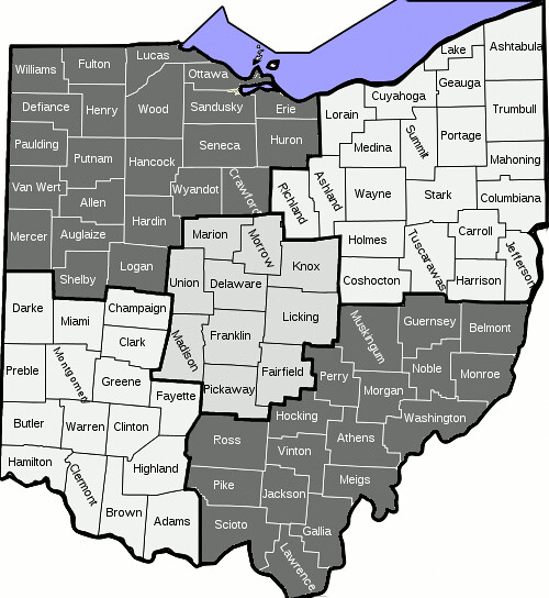 Map of Ohio Counties grouped into five regions