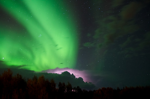 A Doubling of Natures Lights. (Aurora Borealis + Lightning)