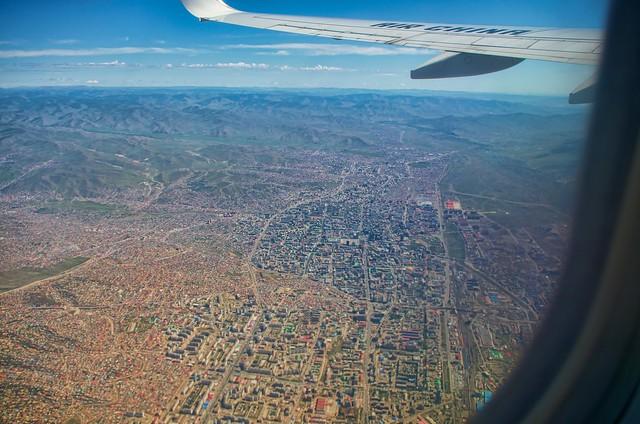 空から見たモンゴルの首都ウランバートル