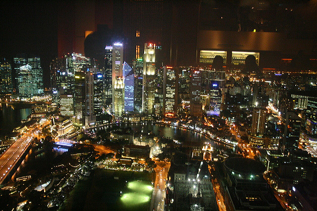 70th storey view from the Equinox, Swissotel Stamford Singapore