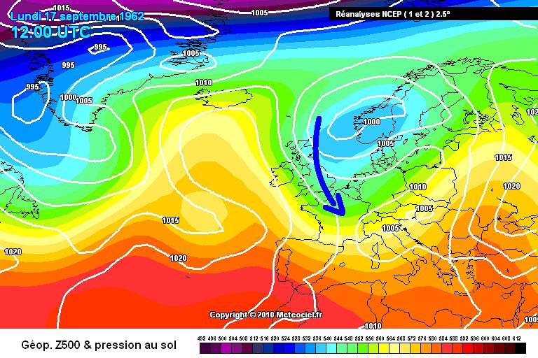 carte de situation de la fraîcheur matinale et du record de froid à Mouthe le 20 septembre 1962 météopassion