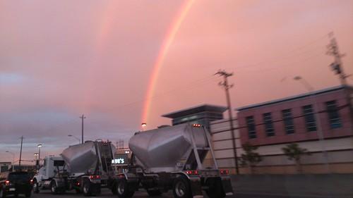 Huge rainbow (fogbow)
