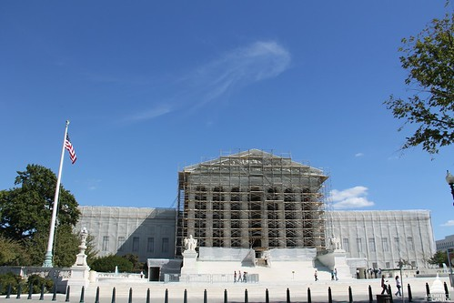 Scaffolding was installed during the summer of 2012 across the entire west elevation of the Supreme Court.