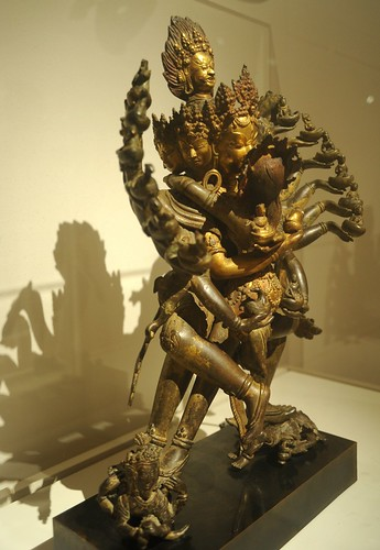 Hevajra holds gods & goddesses & animals / human in skullcups, standing on gods, consort Nairãtmyã yogini ((vajra chopper, kartika knife), arms, kiss, crowns, ear rings, yidam, statue, Kathmandu Valley, c. 1600, Art Institute of Chicago, Illinois, USA by Wonderlane