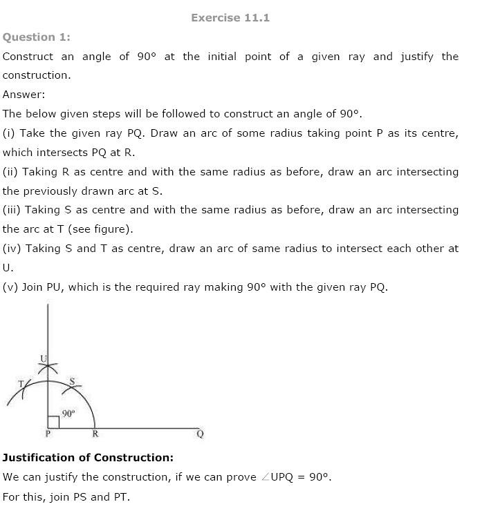 NCERT Solutions For Class 9 Maths Solutions Chapter 11 Constructions PDF Download 2018-19