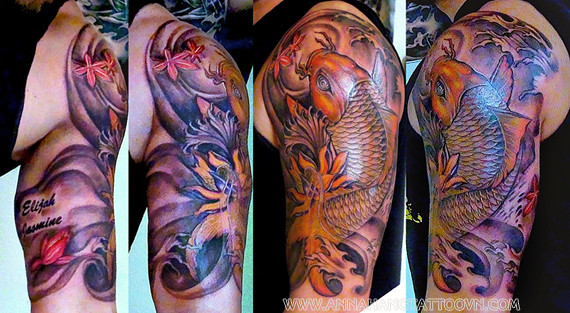 Koi Tattoo Half Sleeve Designs