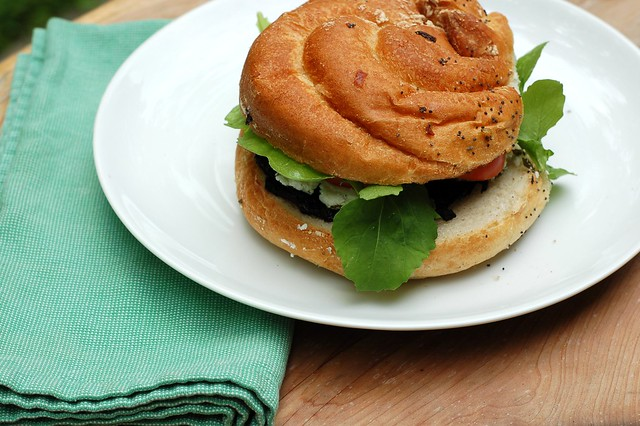 Grilled Portobello burger by Eve Fox, Garden of Eating blog, copyright 2012