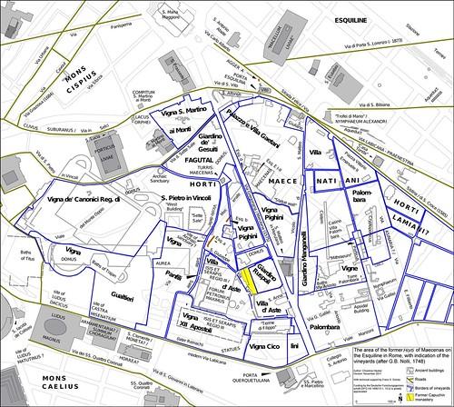ROMA ARCHEOLOGIA: Mappa 10: L'area della ex Horti di Mecenate sul colle Esquilino a Roma, con l'indicazione dei vigneti (le linee blu scuro), come disegnato nel Grande Mappa di Roma di Giambattista (GB) Nolli (1748); di Prof. Chrystina Hauber (2012).