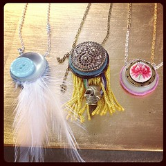 The sun is starting to shine bright on the new necklaces! #vintagebuttons #patricelehocky