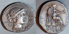RRC 462/1a M.CATO PRO PR Porcia Denarius. Female head with hairband, ROMA, Victory VICTRIX with patera, palm-branch. Africa 47-46BC.