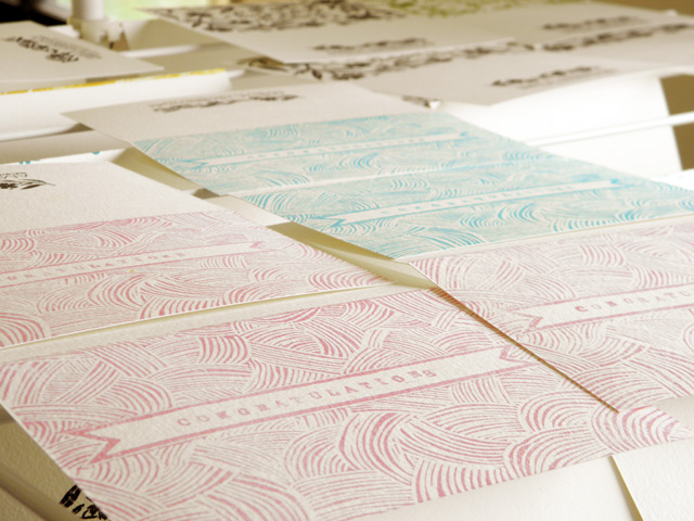 Lino cut block printed cards