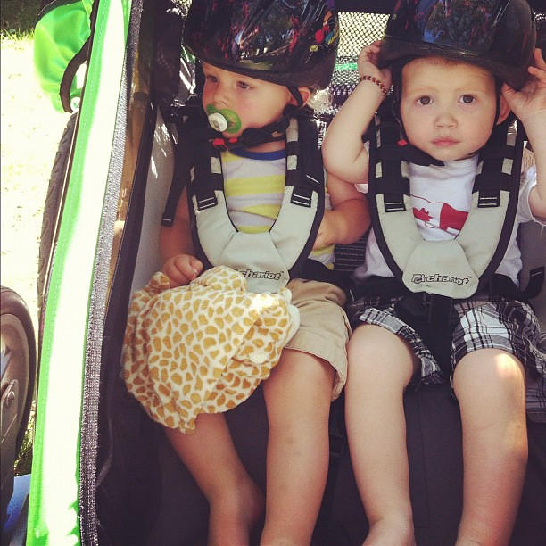 First ride with both babies in the Chariot (plus Liliana on the trail-a-bike). My legs are ACHING.