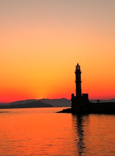 Chania Lighthouse sunset