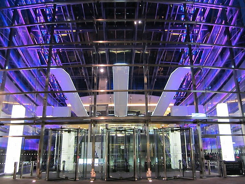 Purple lights at the entrance to Tower 42