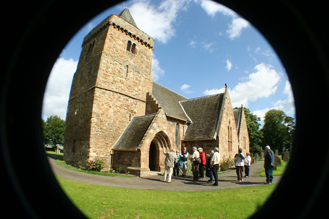 Genealogy Tour group visiting Aberlady Church, Scotland