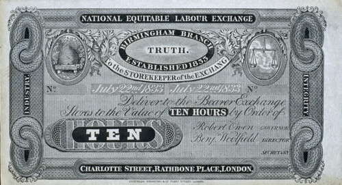 Robert Owen labor exchange note