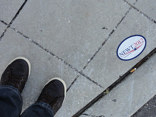 Newt 2012 sticker on sidewalk at RNC
