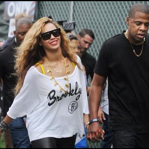 Beyonce Clothing Style - White Brooklyn Nets Shirt