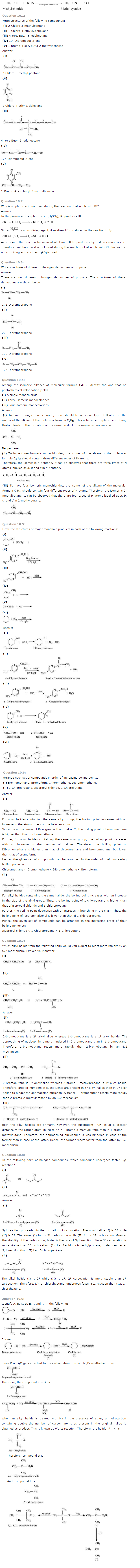 NCERT Solutions Class 12 Chemistry Chapter 10 – Download PDF