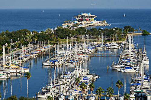blue water stpetersburg pier downtown sailing tampabay florida palmtrees coastal shore unusual sailboats 70300mm homesweethome relfections itsakeeper nikond7000 debbiefrileyphotography dsc1374002 takenfromthe14thflooroftheflorenzia sarahsbalcony