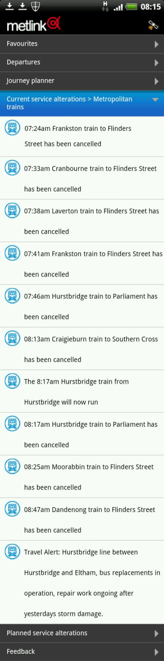 Metlink (PTV) train status 6/9/2012 8:15am