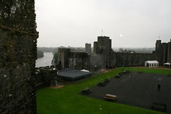 View of the castle from the top of the Dungeon Tower - Pembroke Castle, Pembrokeshire, Wales