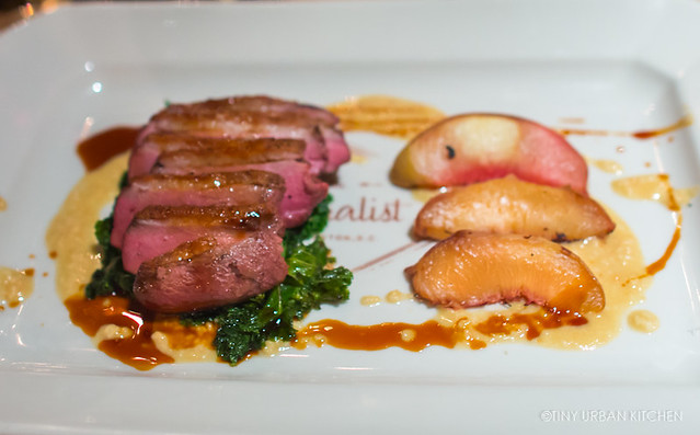 ROASTED MOULARD DUCK BREAST* 29 Grilled White Peaches, Lacinato Kale, Macadamia Nut Butter, Sarsaparilla Jus