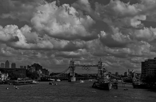 Tower Bridge Under a Moody Sky