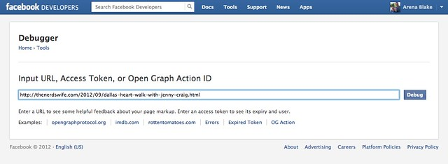 Facebook Debugger URL field