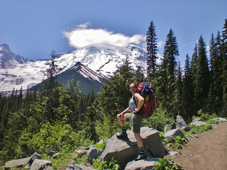 Clare Stands Victorious - Mt. Rainier