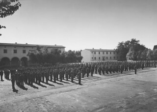 Soldiers drilling in front of Clark V in 1943