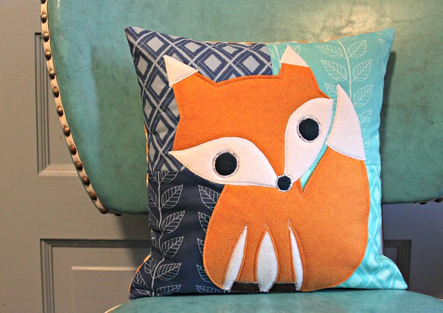 quilted fox pillow
