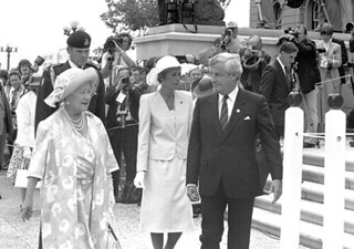 Queen Mother's Edmonton Visit -- Queen Mother outside of Legislature Building with Premier and Mrs. Lougheed