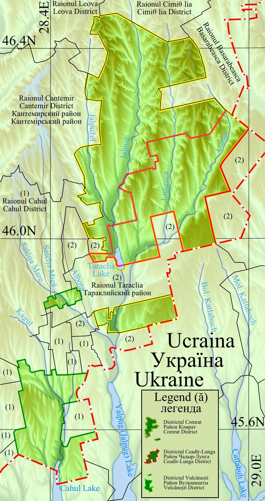 Mapa da Gagaúzia dentro da Moldávia