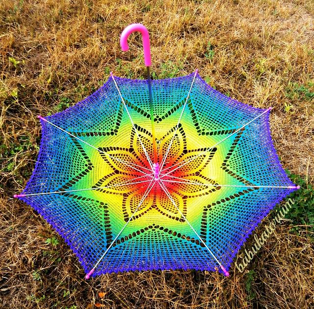 Crochet Umbrella Solaster Rainbow Crochet Lace Parasol