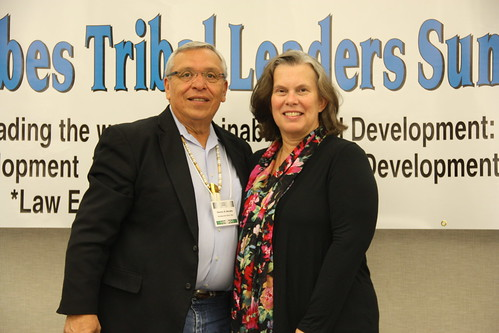 Janie Hipp, Senior Advisor to Secretary Vilsack for Tribal Relations, USDA,  and Standing Rock Sioux Tribal Chairman Charles Murphy at the 16th Annual United Tribes Tribal Leaders Summit. USDA recently approved funding to improve the water treatment system on the Reservation. USDA Photo taken by North Dakota Public Information Coordinator Samantha Evenson.