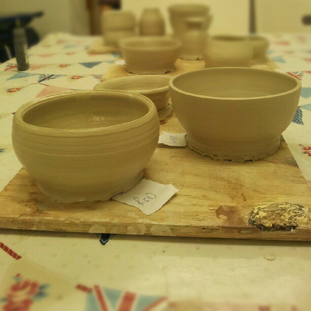 Pots week 2 (teacher's on the right)