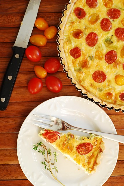 Egg and Cheese Breakfast Tart with Grape tomatoes recipe