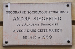 Photo of André Siegfried grey plaque