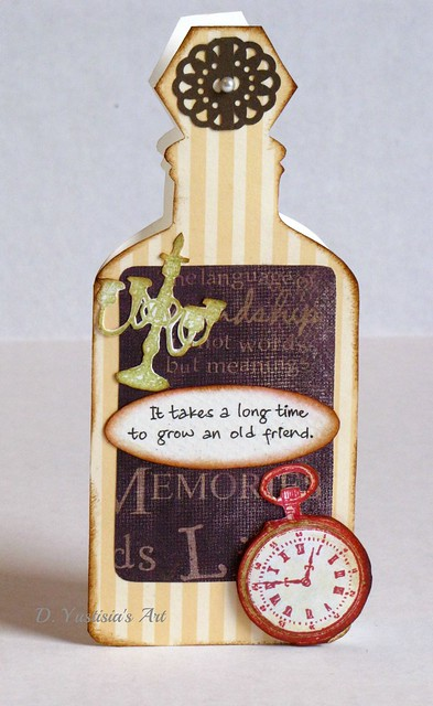 Pocket watch antique bottle card