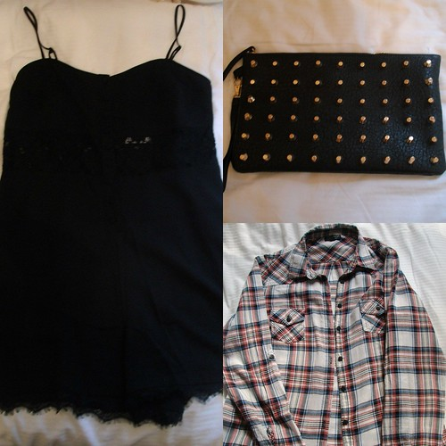 studded bag, topshop playsuit, topshop shirt