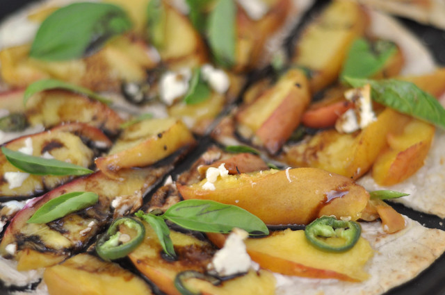 nectarine, basil and balsamic reductions