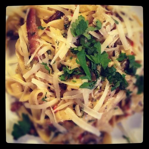 Pittige pasta met champignons