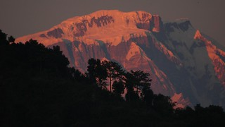 Last light on Lamjung Himal from Pokhara
